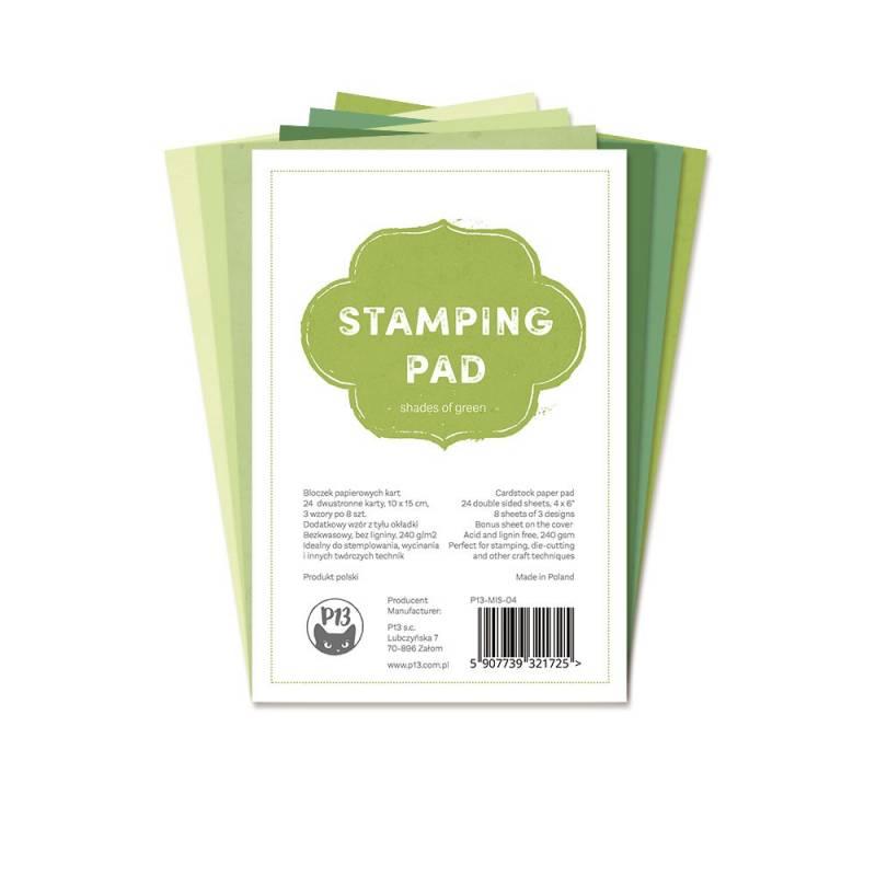 "Bloczek papierów do stemplowania Stamping Pad Shades of Green, 6x4"""