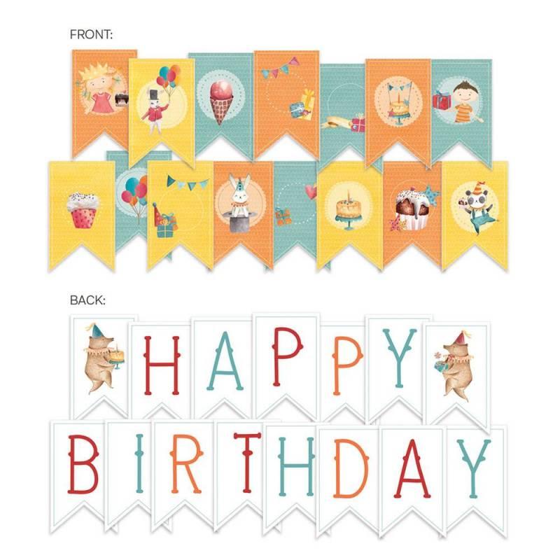 Banerek / die cut Happy Birthday, 15szt.