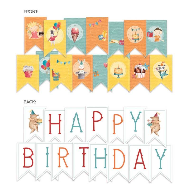 Banerek / die cut Happy Birthday, 15 szt.