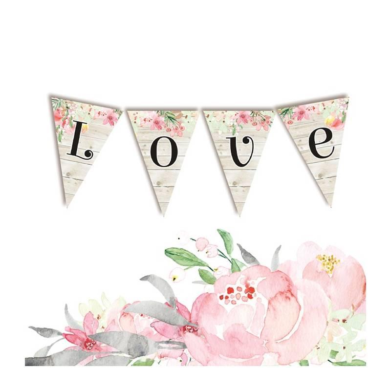 Banerek / die cut Love in Bloom - LOVE 4 szt.