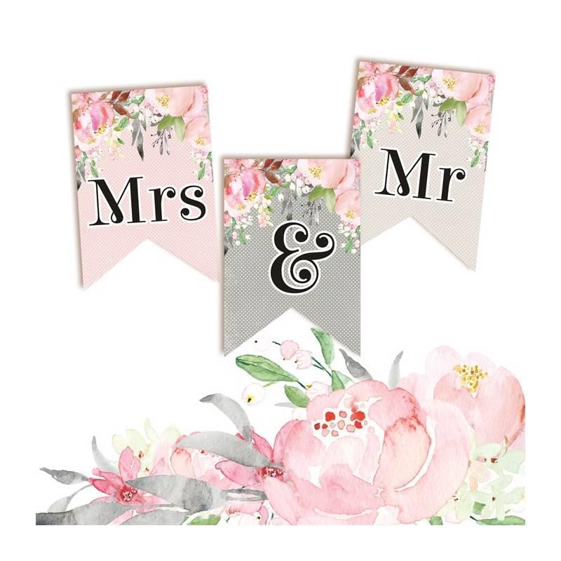 Banerek / die cut Love in Bloom - Mrs & Mr 3 szt.