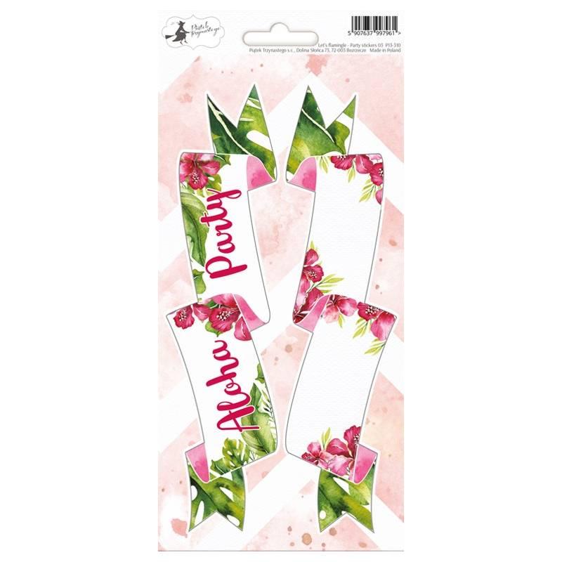 Arkusz party naklejek Let's flamingle 03, 10,5 x 23cm